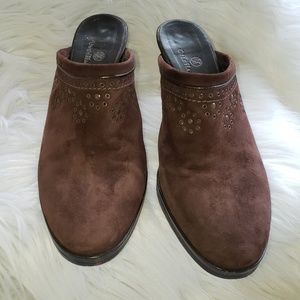 Cole haan mules brown suede slip on shoes 9.5